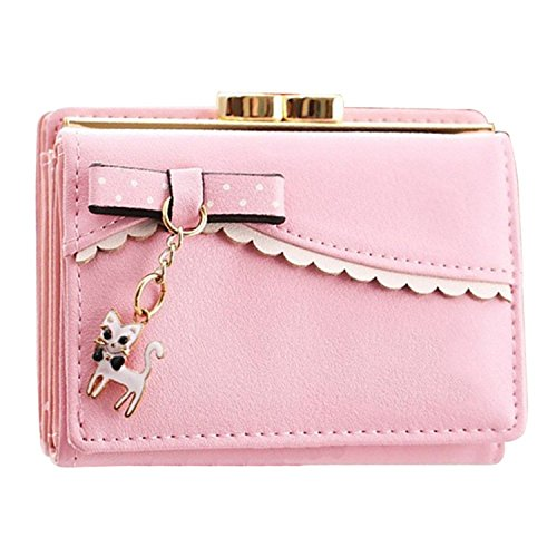 Medium , Pink : good01 Ladies Elegant Bowknot Cat Pendant Trifold Short Wallet Coin Purse Card Holder