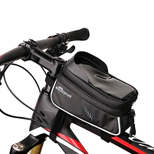 greatdaily Fahrrad Tasche Lenkertasch Wasserdicht Frontrahmen Tasche| MTB Top Design PVC Tasche, Unter 6 Zoll TPU Touchschirm « Schwarz»