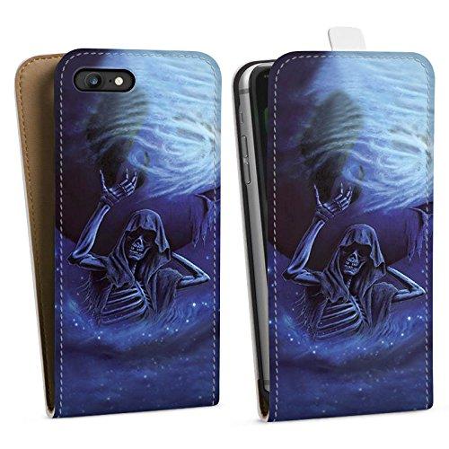 Apple iPhone X Silikon Hülle Case Schutzhülle Skull Bones Totenkopf Downflip Tasche weiß