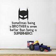 """Brother habitación adhesivo Cita a veces ser un Brother incluso mejor que es ser un superhero- Superhero adhesivo para niños habitación infantil adhesivo de pared, vinilo, negro, 22""""h x22""""w"""