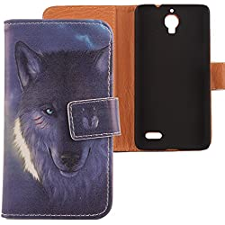 Lankashi PU Case Cover Skin Etui Flip Housse Cuir Coque Protection Pour Bouygues Telecom BS 471 Wolf Design