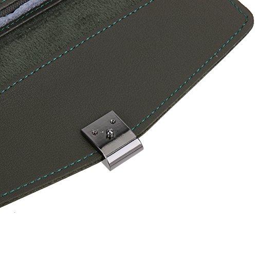 Amazingdeal365 Nuova Moda Donna Pu Pelle Bottone Design Card Holder Portafoglio Flip Borsa (Nero) Verde Scuro