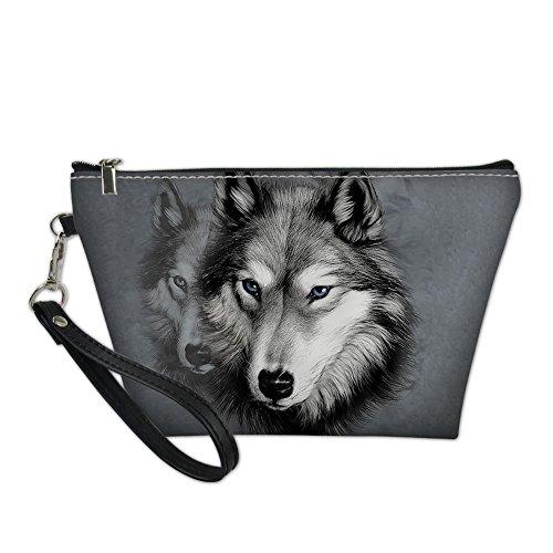 showudesigns Personalisierte Wolf Kosmetiktasche Leder Make-Up Tasche für Frauen Teen Girl - Moon Parfüm