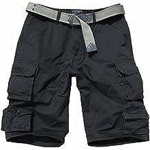 Fun Coolo Cargo - Bermudas para hombre (bolsillos laterales, cinturón), negro, L