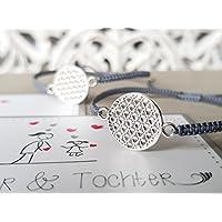 Armband Mutter Tochter Dame Frau Geschenk Armbänder Geburtstag Lebensblume Silber 925 Set für 2 Personen Geschenkkarte Geschenkkarte Geschenknachricht