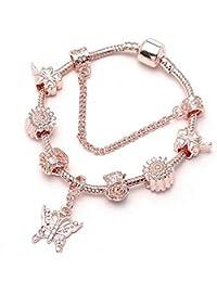 f109c615a6dd GSYDSZ Color de Rosa de Oro del Encanto Pulsera y Brazalete con Amor  Cristal Serpiente Cadena Fina Pulsera para…