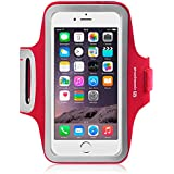 SHOCKSOCK Apple iPhone 6 Plus Reflektierende Sports Gym Bike Cycle Jogging Armband mit Dual, reflektierend, verstellbar Slots und Schlüsseltasche, rot, iPhone 6 Plus