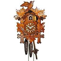 Original Schwarzwälder Kuckucksuhr/Schwarzwald-Uhr (zertifiziert), 1-Tag-Werk, mechanisch, 24 cm, 5 Laub, 1 Vogel, Kukusuhr, Kukuksuhr, Kuckuksuhr (schönes Weihnachts-Geschenk)