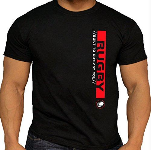"""Qualità da uomo Rugby Pro 'Built to Outlast You """"Cotone Nero T-Shirt. 100% cotone. Black-Red"""