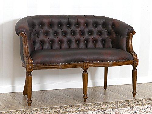 Simone guarracino divano isabelle stile vittoriano 2 posti noce ecopelle bordeaux vintage