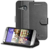 GreatShield® HTC One mini 2 Wallet [SHIFT LX] Draw Bench PU Leather Wallet Flip Stand Case Cover with [Card Pockets] for HTC One Remix / One mini 2 (2014) (Black)