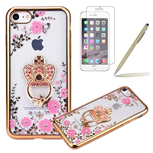 iPhone 6 Plus Coque,iPhone 6S Plus Silicone Coque,iPhone 6S Plus Housse - Felfy Glitter Etui Housse Placage Coque en Silicone Ultra-Mince Etui Soft Housse Plating Case Slim Gel Cover, Felfy Etui de Pr Or Couronne Impériale
