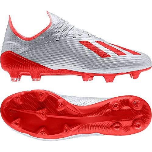 adidas Herren X 19.1 Fg Fußballschuhe, Silber Silver Met./Hi/Res Red S18/Ftwr White, 44 2/3 EU