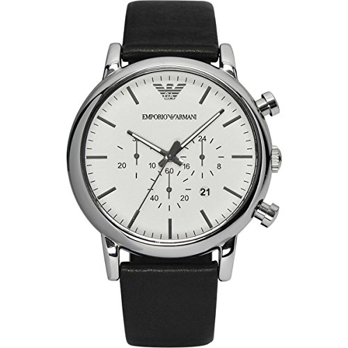 Emporio Armani Men's Quartz Watch with White Dial Chronograph Display and Black Leather Bracelet AR1807