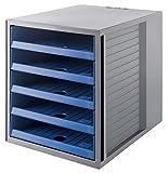 HAN Schubladenbox KARMA 14018-16 in Öko-Grau/Öko-Blau – Ordnungsbox DIN A4 – Aufbewahrungsbox mit Schubladen aus nachhaltigem Kunststoff