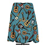 Guitars Cartoon Blue Pattern Hair Salon Cape Haircut Apron Barber Cape Hair Cutting Gown