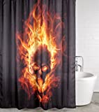 Duschvorhang Totenkopf in Flammen 180 x 200 cm, hochwertige Qualität, 100% Polyester, wasserdicht, Anti-Schimmel-Effekt, inkl. 12 Duschvorhangringe