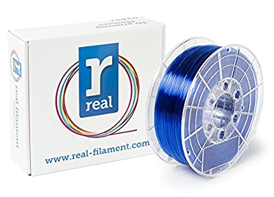 Real Filament 8719128327235 Real PETG, Spool of 1 kg, 1.75 mm, Transparent Blue