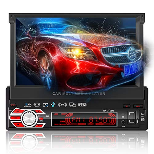 Autoradio Bluetooth GPS, LESHP Radio Stéréo 1 DIN 7' HD 1080p Ecran Tactile Auto Rétractable, MP3 MP4 MP5 Audio Video Player/Commande au Volant/FM/AM/SD/USB avec Caméra de Recul/Antenne GPS/Carte 8G