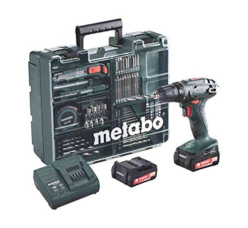 Preisvergleich Produktbild Metabo Akkuschrauber BS 14.4 mit Zubehör-Set, Akkubohrer mit integriertem Arbeitslicht und 2 Li-Ion Langzeit Akkus (14,4V, 2Ah), Zubehör-Set vorhanden