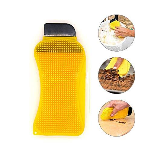 Simxen Silicone Scrubber Cleaning Brush - 3 in 1 Silicone Sponge Scrub & Scrape & Squeegee - Multi-Functional Dish Cleaning Brush Washing Scrubbing Sponge for Home Kitchen and Bathroom