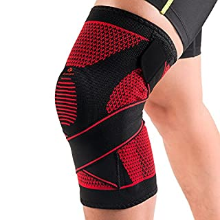 Kuangmi Knee Brace with Spring Support Silicon-ring Adjustable Bandage Stabilizer for Kinds of High-intensity Sports and Exercises-Knitting Breathable (Medium)