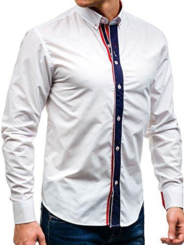 ... BOLF Herren Freizeithemd Herrenhemd Langarm Hemd Slim Fit Klassisch  Casual 2B2 Motiv Weiß ...