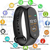MAGBOT M4 Smart Fitness Band for Boys/Men/Kids/Women | Waterproof Bluetooth Sports Watch Compatible with Mi, Xiaomi, Oppo, Vivo Mobile Phone | Activity Tracker Heart Rate and BP Monitor, Calories, Step Counter OLED Touch screen