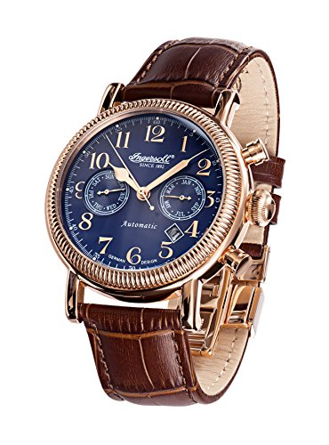 Ingersoll Men's Automatic Watch with Black Dial Chronograph Display and Brown Stainless Steel Strap IN1828RBL