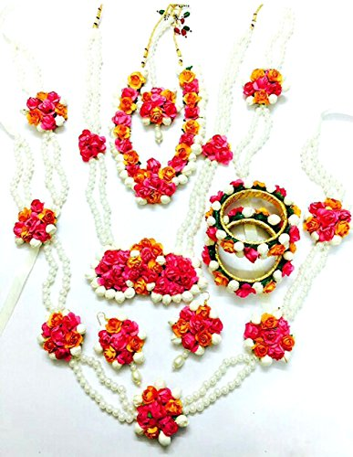 Floret Jewellery Mogra Pearl Pink Orange Complete Flower Jewellery Set With 10 Items For Women & Girls (Mehandi/Haldi/Wedding/Bridal)