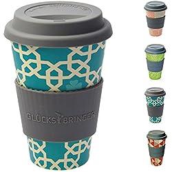 Taza amuleto de café para llevar de ebos hecha de bambú | Taza de café, taza para beber | Biodegradable, reciclabe y respetuoso con el medio ambiente | Seguro para alimentos, apto para lavavajillas (Oriente turquesa)