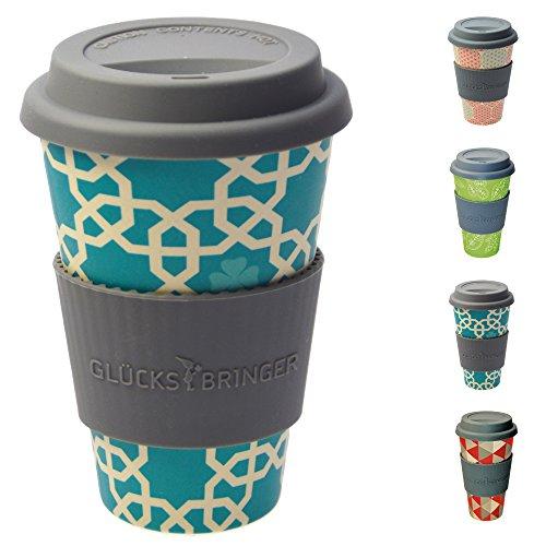 ebos Glücksbringer Coffee-to-Go-Becher aus Bambus | Kaffee-Becher, Trink-Becher | ökologisch abbaubar, recyclebar, umweltfreundlich | lebensmittelecht, spülmaschinengeeignet (Blau - Orient)