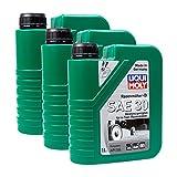 3x LIQUI MOLY 1264 Rasenmäher-Öl SAE 30 Motoröl API SG 1L