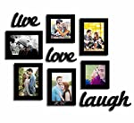 Raise the worth of your walls by decorating them with the 'Live-Love-Laugh Set of 6 Black Fiber Wood Wall Photo Frame'. The product can hold 6 pictures and is made up of fiber wood. Four frames are of the size 5x7 inch each. The remaining two are of ...
