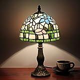 8 Zoll Pastoral Lotus Tiffany Stil Glasmalerei Tisch Lampe Nachttischlampe