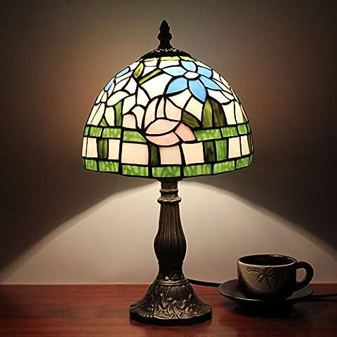 8 pouces Pastoral Lotus Tiffany style vitrail lampe de table lampe de chevet