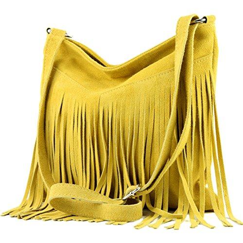Borsa a mano borsa a tracolla shopping bag donna in vera pelle italiana T02 T145 Gelb
