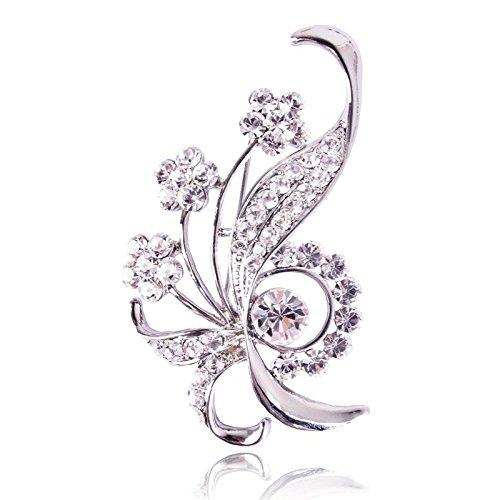 Mode Strass Brosche Anzug Mantel Kleid Broschen Pins Refined Schmuck Design Für Prom Womens Geschenke,White-6.6cm*3.8cm