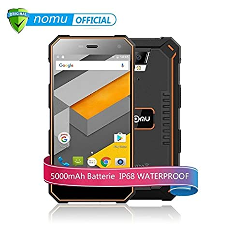 NOMU S10 5.0 Pouces Smartphone Débloqué 4G IP68 Imperméable Antichoc Anti-poussière (5000mAh-16 Go ROM - 2 Go de RAM - 8MP - Dual SIM- Android 6.0) Pour l'aventure en plein air-
