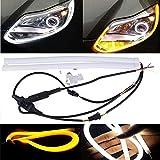 """Kozdiko 2 Pcs 60Cm (24"""") Car Headlight Led Tube Strip, Flexible Drl Daytime Running Silica Gel Strip Light,(Yellow,White)"""