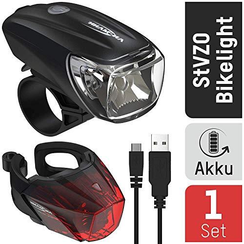ANSMANN Fahrradlicht Set StVZO zugelassen - Akkubetrieben und aufladbar über USB, CREE LED, regensicher, einfache Montage, abnehmbar - Fahrradbeleuchtung bestehend aus Frontlicht & Rücklicht