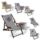 Printalio Kompass - Liegestuhl Bedruckt Balkon Garten Sonnenliege Relax Holz Terrasse | mit Armlehne, Natur