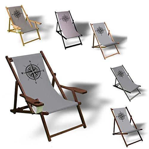 Printalio Kompass - Liegestuhl Bedruckt Balkon Garten Sonnenliege Relax Holz Terrasse | mit...