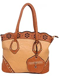D'craft Lady Cute Brown Hand Bag With Outer Click Lock