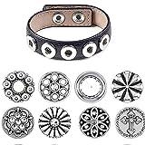 AKKi jewelry Petite 12mm Click Button Set Angebot mit 8 gemischte Druckknöpfe und 1 Accessoires Armband kompatibel mit Chunks Amsterdam Silber Damen Kette zirkonia Schmuck Set Armband