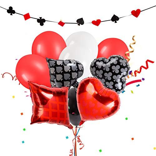 (SHI WU Partydekorationen in Las Vegas , Poker-Themen-Fotoordner Banner Balloons für Poker-Partybedarf , Rote Geburtstagsdekorationen, Schwarze Partydekorationen)