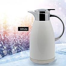 Haosen 1,8 litros de acero inoxidable termos de café Hervidor de agua Termos de estilo europeo - Caliente y frío doble uso (Blanco)