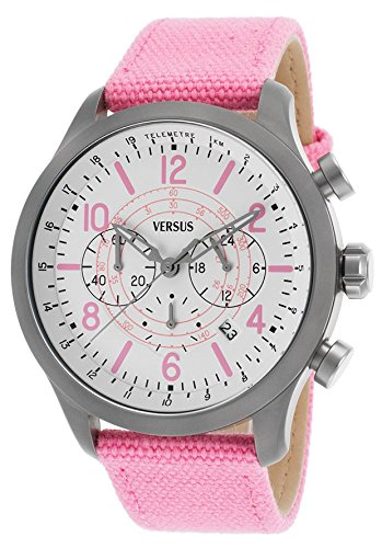Versus SoHo Unisex 44mm Chronographe Bracelet Toile Rose Quartz Cadran Blanc Date Montre SGL06