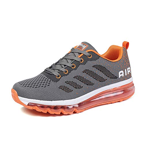 Homme Femme Air Baskets Chaussures Gym Fitness Sport Sneakers Style Running Multicolore Respirante Gray Orange 34