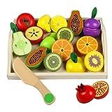 Cibo Giocattolo Frutta Da Tagliare Giocattolo Legno Gioco Magnetico Frutta Verdura Giocattolo per Bambini 3 4 5 6 7 Anni, 20 pezzi
